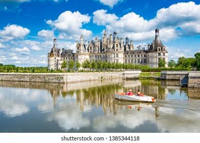 Chambord, Loir-et-Cher, France - Jul 02, 2018:Chateau de Chambord, royal medieval castle at Chambord, France, in the Loire Valley. French Renaissance architecture. Unesco heritage