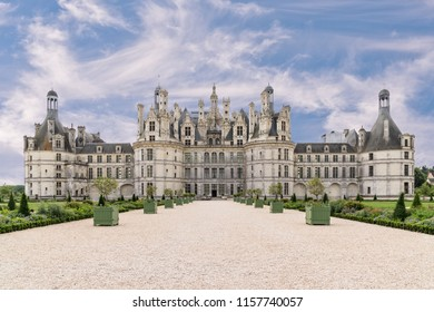 Chambord, Loir-et-Cher, France - June 14, 2018: Chambord is the largest chateau in the Loire Valley. It was built to serve as a hunting lodge for Francis I. It is French Renaissance architecture.