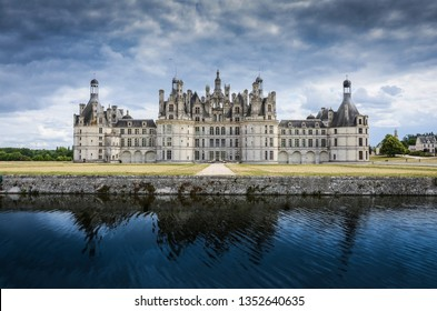 Chambord Royal Castle with water reflection - Loire Valley, France.