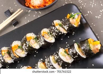 Chamchi Kimbap or Gimbap Korean food with tuna like japan sushi
