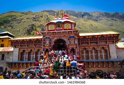 Chamoli, Uttarakhand/India- 06/2018- A serene view of the holy temple of Load Vishnu, Badrinath.