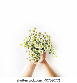 Chamomile bouquet in girl's hands on white background. Flat lay, top view