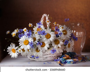 Chamomile flowers in a basket