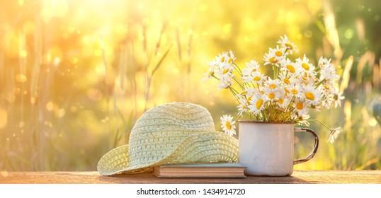 schöne Komposition mit Kamillenblumen im Cup, altes Buch, geflochtener Hut im Sommergarten. Ländliche Landschaft Naturhintergrund mit Kamille bei Sonnenlicht. Sommersaison. Kopienraum