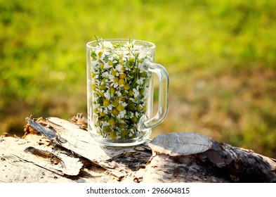 Chamomile flowers in a glass mug on tree stump.