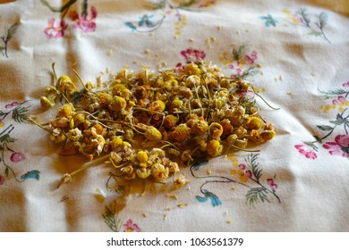 Chamomile on a Floral Fabric Background