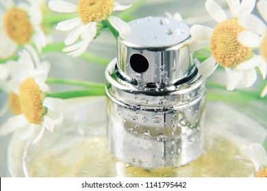 Chamomile scented body spray, macro closeup pulverizer bottle with fresh flowers. Beauty care and aromatherapy product, soft pastel colors.