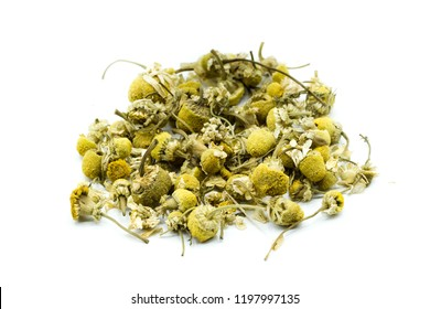 Chamomile tea in cup isolated on white background