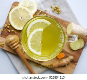 Chamomile tea with ginger, lemon, turmeric and honey