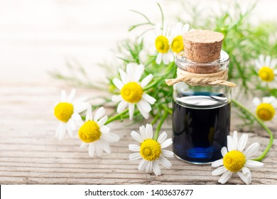 Chamomilla essential oil in the glass bottle, with fresh flowers, on the old wooden board