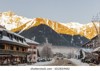 CHAMONIX DE MONT BLANC, FRANCE, DECEMBER 24, 2017. Snow covered streets of Chamonix de Mont Blanc in early winter. This popular tourist destination was hit by massive snow fall around this time.