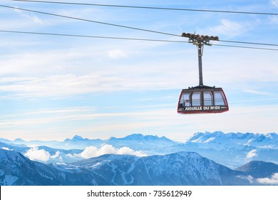 Chamonix, France - January , 28, 2015: Cable Car from Chamonix to the summit of the Aiguille du Midi and lift station high in the mountains Chamonix, France.