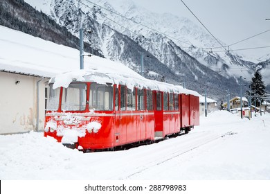 Chamonix, France - January , 30, 2015: Apine red train Mer de Glace in snow at Chamonix, France