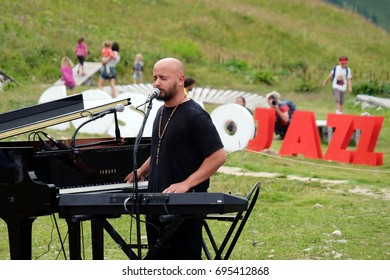 CHAMONIX, FRANCE – JULY 29, 2017: Bachar Mar-Khalife at Cosmo Jazz music festival, Chamonix, Mont-Blanc