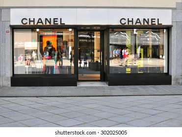 CHAMONIX, FRANCE - JULY 31: Facade of Chanel flagship store in Chamonix old town on July 31, 2015. Chanel is a world famous luxury fashion couture.