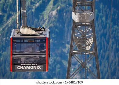 Chamonix, France - June 2019: Cable car Aguille du Midi in French alps