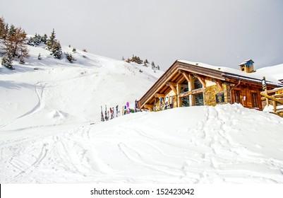 Chamonix, FRANCE-DEC 18: Alps ski lodge on Dec 18,2005 in Chamonix, France.