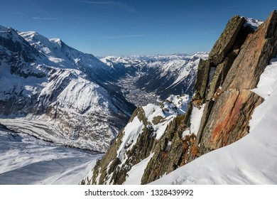 Chamonix in the French Alps - a view down the valley from high on the the flank of the Aiguille Verte moutain.  In the distance is Les Houches and beyond the Chaine des Aravais
