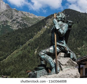 Chamonix, Haut Savoie, France -August 2018: The monument to the first conquerors to the top of Mont Blanc, Dr. Michel Gabriel Paccard