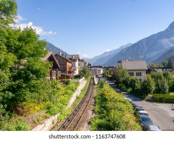 CHAMONIX, HAUTE SAVOIE, FRANCE AUGUST 23, 2018: Aiguille du midi train station on a beautiful summer day. Early morning mist lingers.
