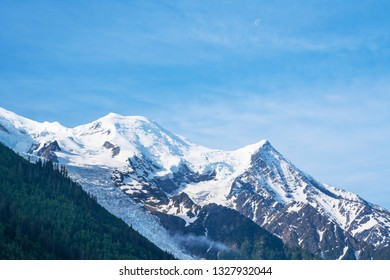 Chamonix Mont Blanc, famous ski resort in Alps mountains, France. Summer landscape.