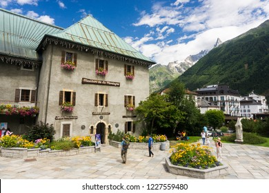 Chamonix Mont Blanc, France - AUGUST 9, 2014: Masion de la Montagne building, Haute Savoie, a beautiful sunny day of summer