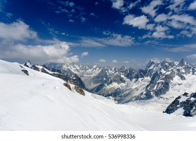 Chamonix Mont Blanc France. July 2015. View of Auguille Du midi observation. The ice caps and mountains.