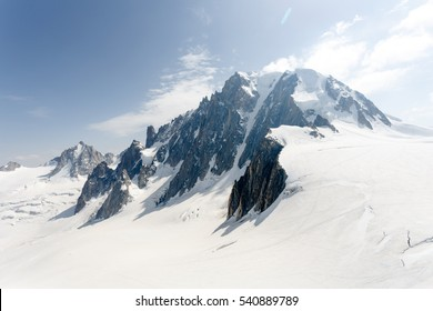 Chamonix Mont Blanc France. July 2015. View of Auguille Du midi observation.