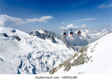 Chamonix Mont Blanc France. July 2015. View of Auguille Du midi observation. Panoramic cable cars.