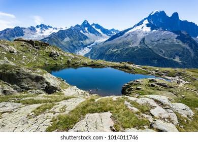 Chamonix, Mont Blanc Massif / France - August 20 2017: The beautiful Lac Blanc from Chamonix area.