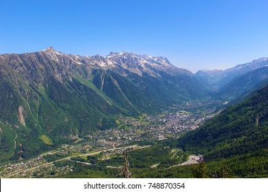 Chamonix valley facing Mont-Blanc in summer, Aiguilles Rouge massif, Haute-Savoie, France