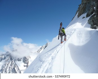 CHAMONIX,FR - CIRCA MARCH 2011 - Climbers on the Petite Aiguilles Verte