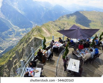 CHAMONIX-MONT-BLANC, FRANCE - JULY 24, 2015: Cafe at the Brevent summit