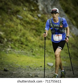 Chamonix-Mont-Blanc, France - September 2, 2017: Jim Walmsley of USA makes his way to Flégère en route to a top five finish at the Ultra-Trail du Mont-Blanc.