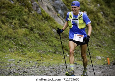 Chamonix-Mont-Blanc, France - September 2, 2017: Tim Tollefson of USA (#14) makes his way to Flégère en route to a top-three finish at the Ultra-Trail du Mont-Blanc.
