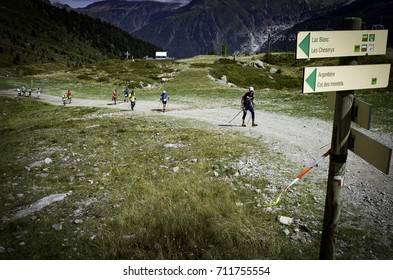 Chamonix-Mont-Blanc, France - September 3, 2017: Runners approach Flégère during the second day of the Ultra-Trail du Mont-Blanc.