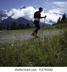 Chamonix-Mont-Blanc, France - September 3, 2017: A runner approaches Flégère during the second day of the Ultra-Trail du Mont-Blanc.