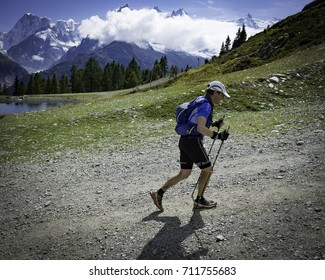 Chamonix-Mont-Blanc, France - September 3, 2017: A runner approaches the Flégère checkpoint at the Ultra-Trail du Mont-Blanc.