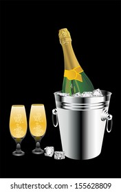 Champagne bottle in bucket with ice and glasses of champagne, isolated on black