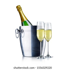 champagne bottle in cooler isolated on white