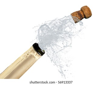 Champagne bottle explosion isolated on white