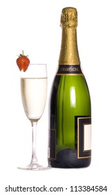 Champagne bottle and glass cutout