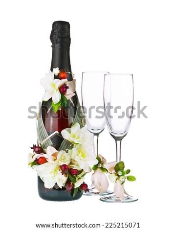 Champagne Bottle Glass Wedding Decoration Flower Stock Photo Edit
