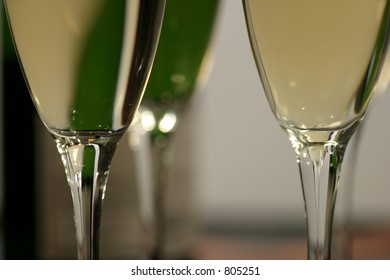 champagne bottle and glasses