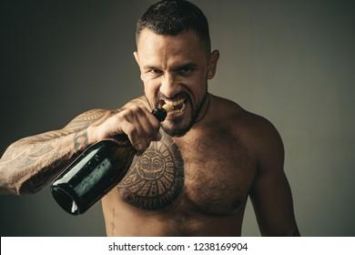 champagne bottle and lotin barman. Restaurant wine menu. Wine bottle, degustation. Hot party