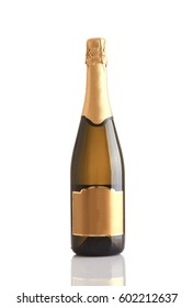 champagne bottle over white background