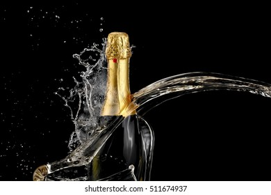 Champagne bottle splash