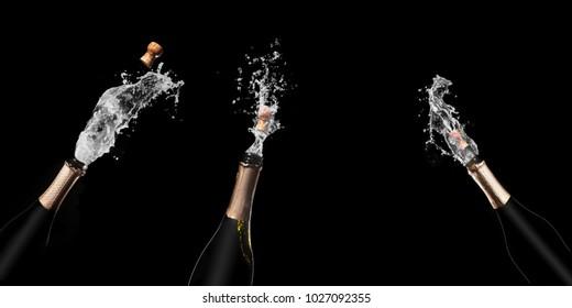Champagne bottle and spray on black backgroun.set 5.