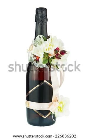 Champagne Bottle Wedding Decoration Flower Arrangements Stock Photo