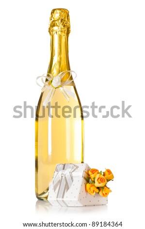 Champagne Bottle Wedding Flower Decoration Present Stock Photo Edit